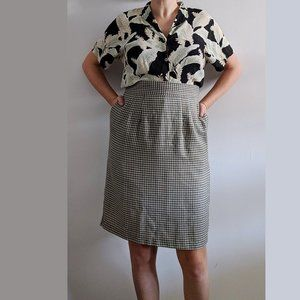 1980's Sage Checked Secretary Skirt with Pockets